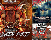 Set Of halloween Party Flyers
