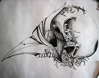 dot drawing - bird mask