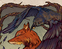 The Fox and The Crow - Aesop Fable Illustration