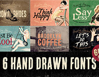 6 Hand Drawn Fonts