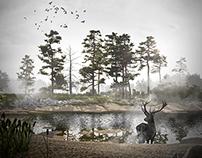 Bäume, Wasser, Nebel, Hirsch (2014)