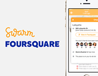 Mobile app designs for Swarm & Foursquare