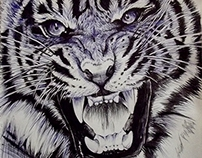 """Tiger "" with pen"