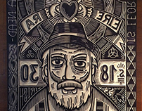 "Woodcut. Immigrants Project. ""Éire"" (Ireland)"