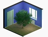 cartoon isometric render room