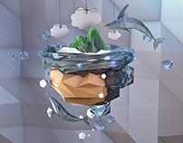 Whale Island - Low Poly