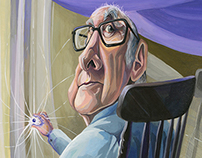 Peter Higgs, caricature in gouache.