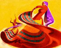 Folk Dancers in Red