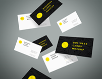 Freebie - Flying Business Cards Mockup