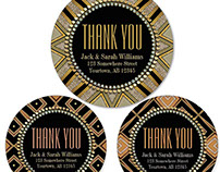 ART DECO GEOMETRIC | Thank You Round Stickers