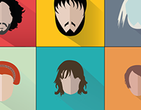 Game of Thrones Characters (Flat with long shadow)