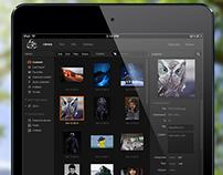 Desktop based web gallery app interface design