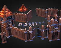Wooden Fortress 3D Low Poly Model