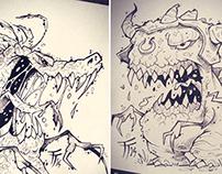 Inktober Creature Concept Designs