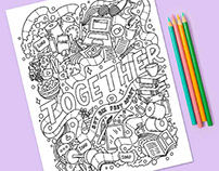Social Distancing Coloring Page