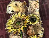 illustration of lions and sunflowers by Venc Design