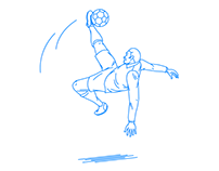 Football player who kicks overhead ball