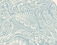 I'm in love with fish, seamless pattern