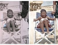 Colorisation of a  beach photograph (c. 1950)