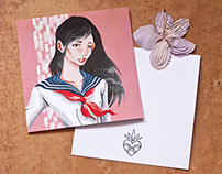 Japan schoolgirls (+postcards)