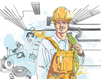 KomFort - Illustration of Construction Workers