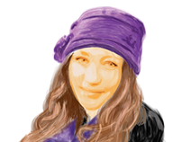 Self portrait drawn with Illustrator brushes