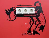 Robots. Stencils usage in interior