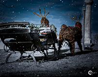 Christmas sleigh with reindeer