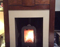 Vesta 4 stove with Leathered granite hearth installed