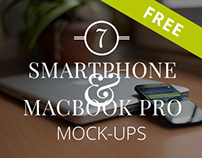 7 FREE Smartphone & Notebook PSD Mockups