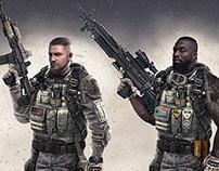 Modern Combat 5 Character Design IOS