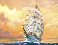Sailing Ship -Sunset-