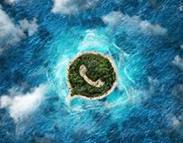 Smartphone island Facebook Apple Android watsapp