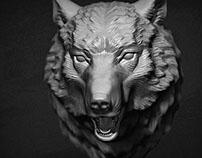 Wolf Head Scilpture