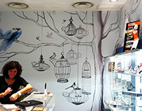 Panoramic wall paper illustrations for a Milan's store