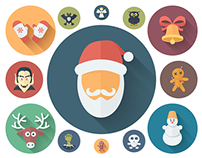 Funny Holiday Icons in a Flat Style