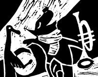Music Tripper - linocut