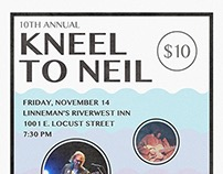 KNEEL TO NEIL - Neil Young Benefit Show Flyer