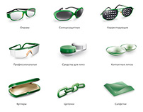 Glasses and optical icon set