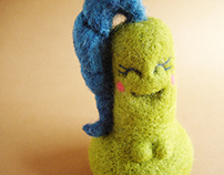 """Katy Pear"" needle felted art toy"