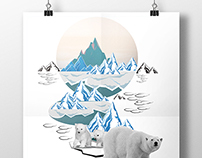 Tee and Tote Bag Design: Polar Bear in Melted Iceland