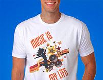 T Shirt Design - Music Is my Life