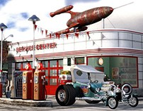 1950's Gas Station