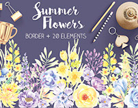 Border of summer flowers in watercolor