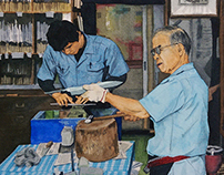 Watercolor painting - Japanese knife maker