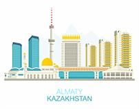 Almaty City Landscape illustration, 2016