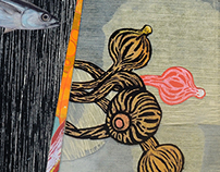 collages with silkscreen and woodcut-prints
