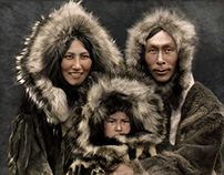 Colorized Inupiat Family, 1929.