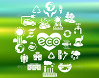 Eco Icons Silhouettes on Blurred Background