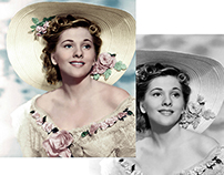 Colorisation of photograph of Joan Fontaine